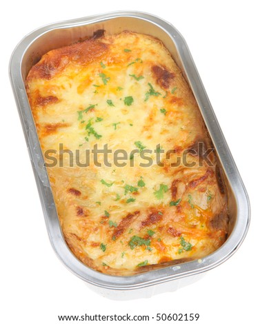 Cooked lasagna ready meal - stock photo