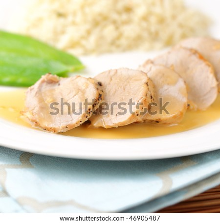 cooked loin of pork on a white plate with maple syrup sauce. Shallow depth of field. - stock photo