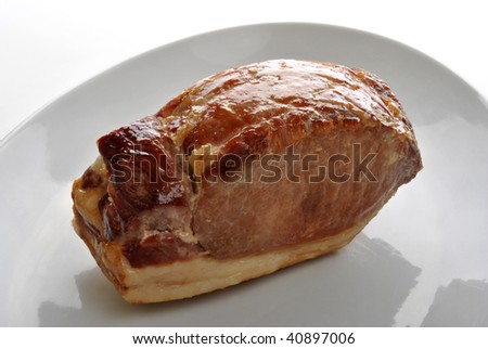 Bacon joint stock images royalty free images vectors shutterstock cooked organic back bacon joint on a plate ccuart Gallery