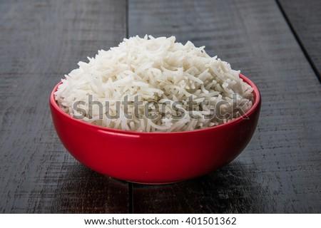 cooked plain white basmati rice in a ceramic bowl  - stock photo