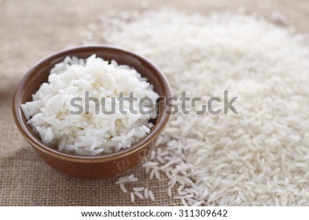 cooked rice and rice grain on jute cloth. jasmine rice. cooked jasmine rice and jasmine rice grain. cooked rice and rice grains. - stock photo