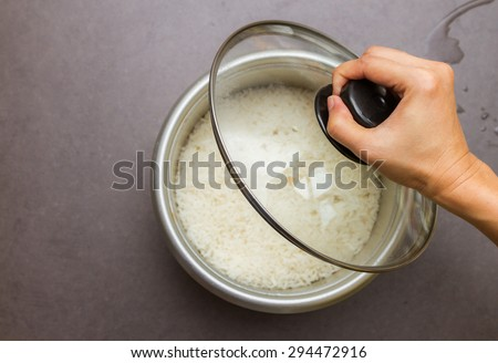 Cooked rice for cooking and eat on background. - stock photo
