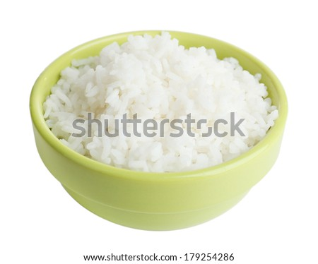Cooked rice in bowl isolated on white - stock photo
