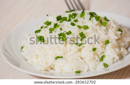 Cooked rice on plate