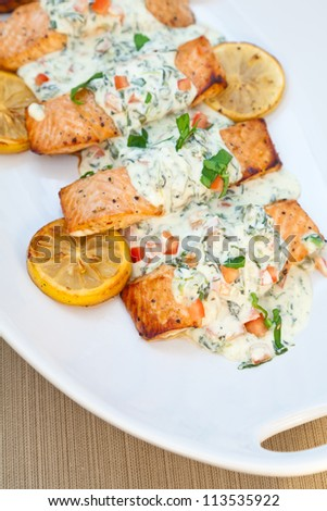Cooked salmon fillets with spinach sauce - stock photo