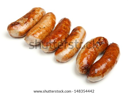 Cooked sausages arranged in a row, - stock photo