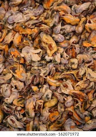 cooked sea mussel background