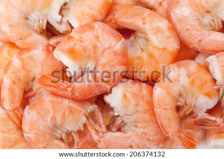 Cooked shrimps. Closeup food background
