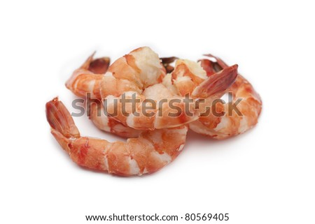 Cooked shrimps on white background