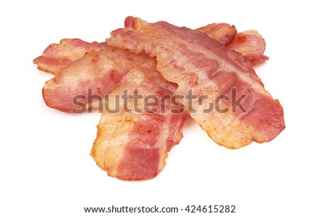 cooked slices of bacon isolated on white - stock photo