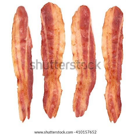 cooked slices of bacon isolated on white background - stock photo