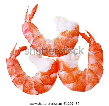 Cooked tiger prawn shrimps isolated on white - stock photo