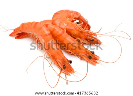 Cooked tiger shrimps isolated on white background - stock photo