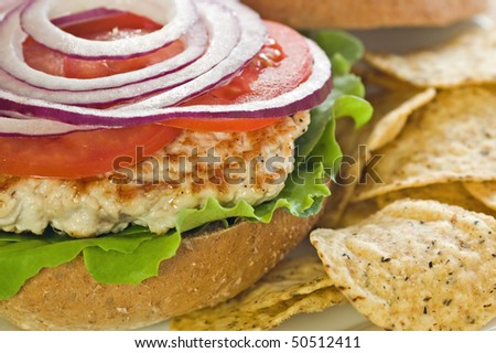 Cooked turkey cutlet on whole wheat kaiser bun with tomato, red onion and tortilla chips