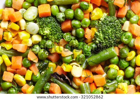 Cooked vegetables mix. Peas and green beans. Healthy diet. - stock photo
