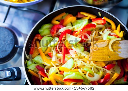 cooked Vegetables on frying pan closeup - stock photo