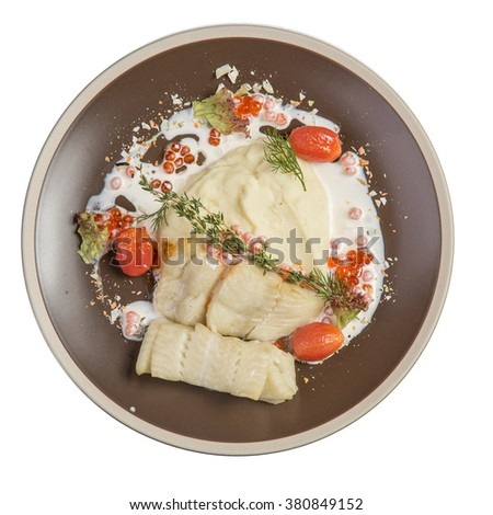 Cooked white fish fillet isolated on white background - stock photo