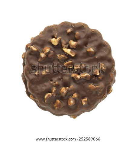 Cookie coated with chocolate and peanuts. - stock photo