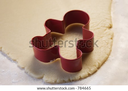 Cookie Cutter and Cookie Dough - stock photo