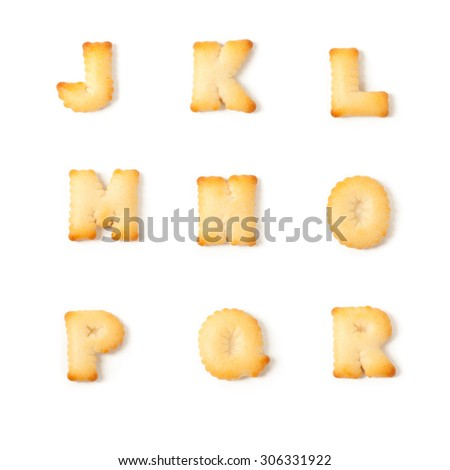 cookie font alphabet J,K,L,M,N,O,P,Q,R isolated on white background. - stock photo