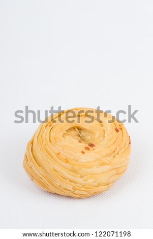 cookie in bowl on white background
