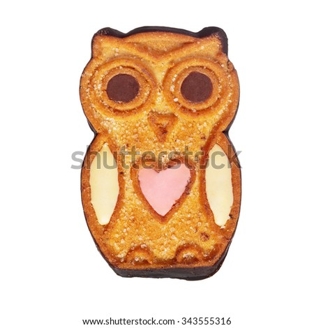 Cookie owl isolated over white - stock photo