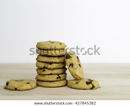 Cookie stack with light background - stock photo