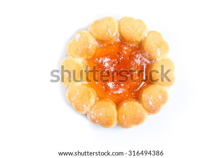 Cookie with fruit orange jelly isolated on white background - stock photo