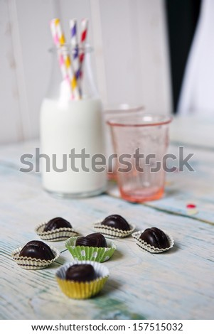 Cookie with milk for Santa Claus - stock photo