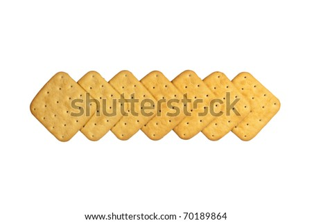 Cookies a cracker are combined in a line. On a white background - stock photo