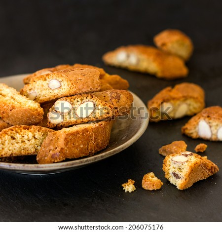 Cookies cantuccini in focus - stock photo