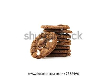 cookies chocolate chip and marshmallow on white background