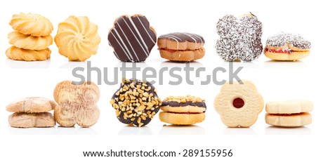 cookies Collection Set, isolated on white background - stock photo
