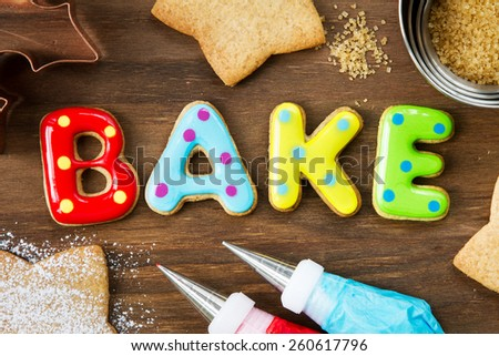 Cookies forming the word bake - stock photo
