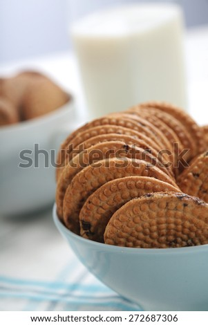 Cookies in bowl - close-up - stock photo