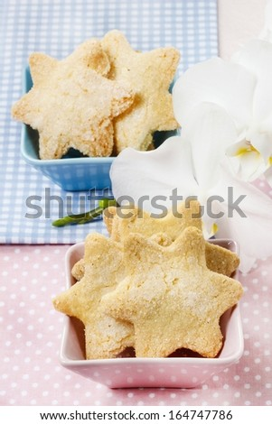 Cookies in star shape. Orchid flower in the background - stock photo