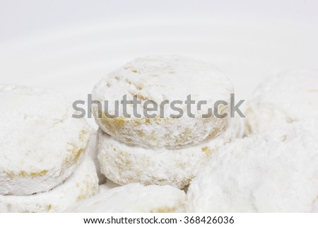 Cookies in the Circular Shape, Covered Powdered Sugar. Vanilici - Traditional Macedonian Cakes.