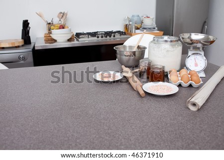Cookies ingredients in the kitchen - stock photo