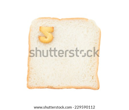 Cookies numbers with bread containing letters - 5,  isolated on white background
