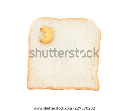 Cookies numbers with bread containing letters - 3,  isolated on white background
