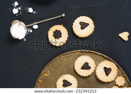 cookies on black canvas  - stock photo