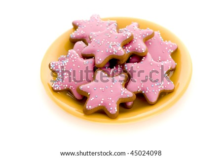 cookies on plate isolated on white background - stock photo