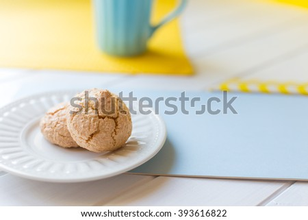 Cookies on white plate background - stock photo