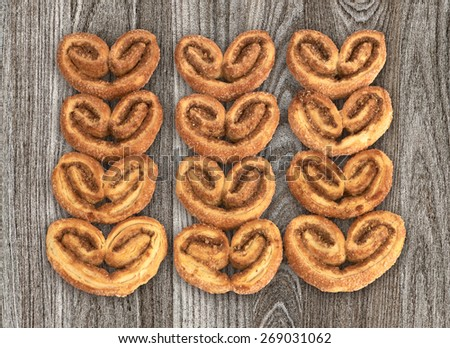 Cookies on wooden background. - stock photo