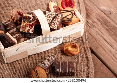 cookies on wooden table - stock photo