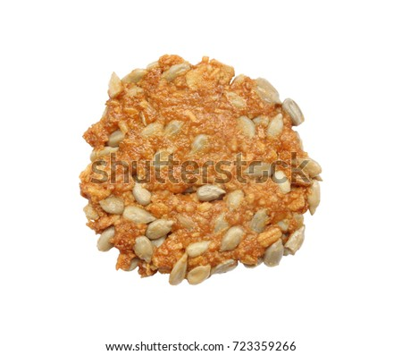 Cookies sunflower seeds isolated on white background