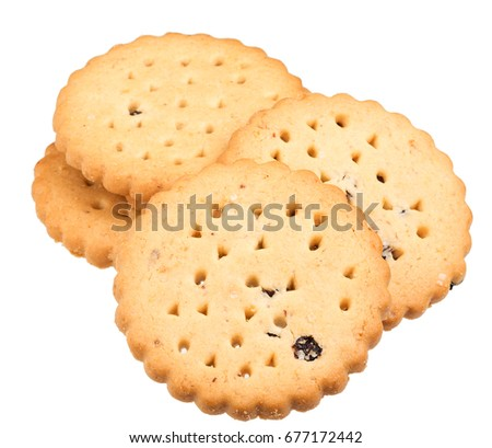Cookies, sweet, fresh, on white background, nobody.