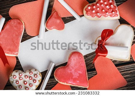 Cookies Valentines Day and Valentine cards - stock photo