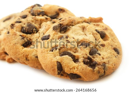 Cookies with chocolate chips closeup  - stock photo