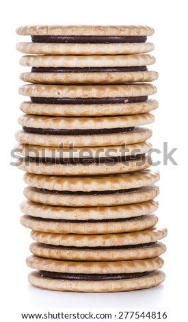 Cookies with chocolate cream isolated on white background